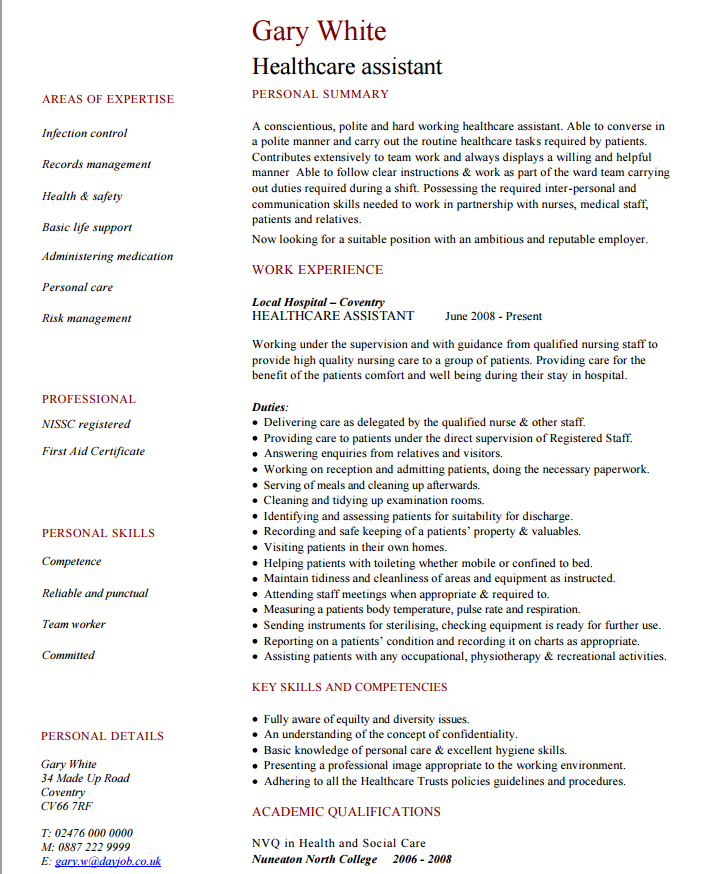 Categories  Personal Care Assistant Resume